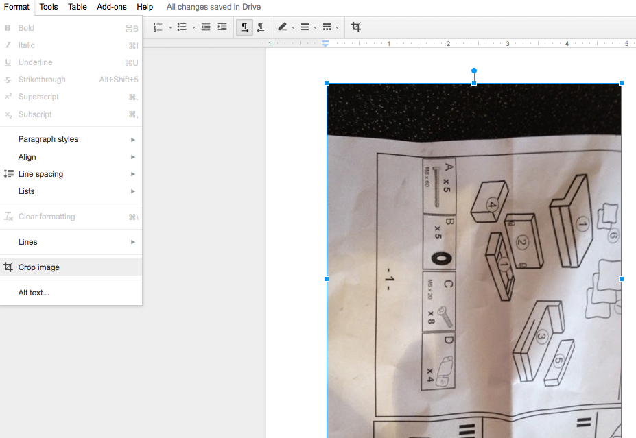 Crop an image inside Google Documents