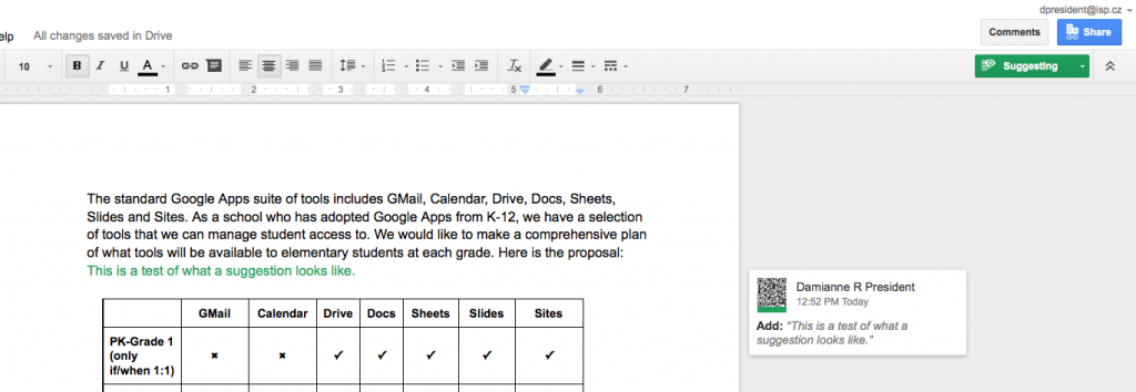 how to make suggestions on google docs