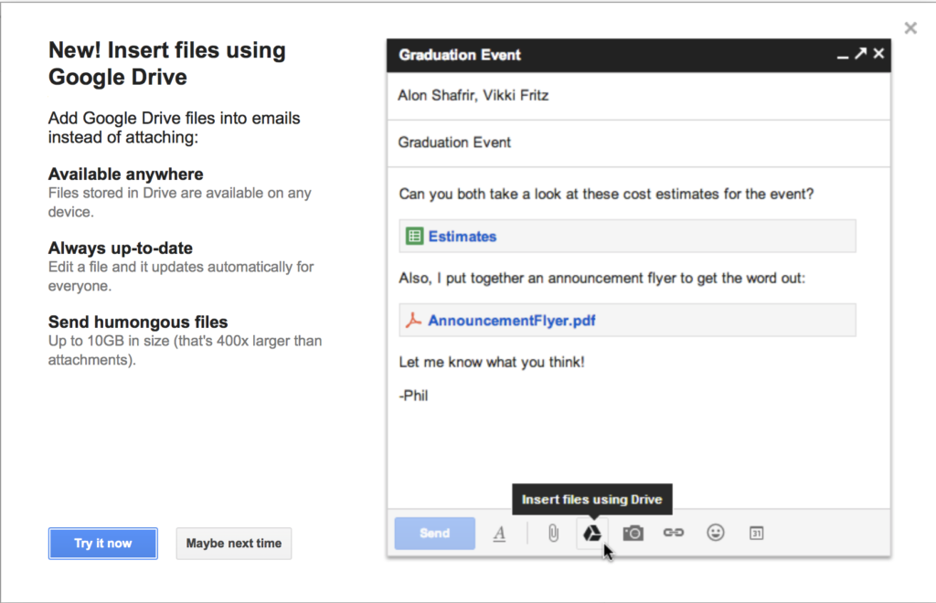 Attach document from Google Drive