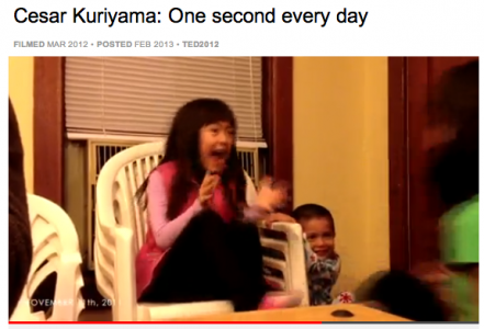 Freeze frame from the One second every day Ted talk by Guriyama.