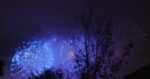 blue fireworks for 100th anniversary of Czech Republic